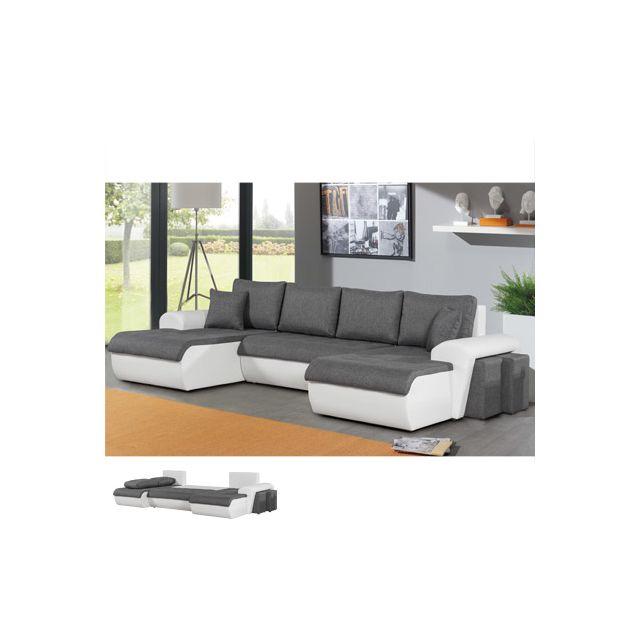 Canapé d'angle panoramique convertible bi matière gris et blanc Adele