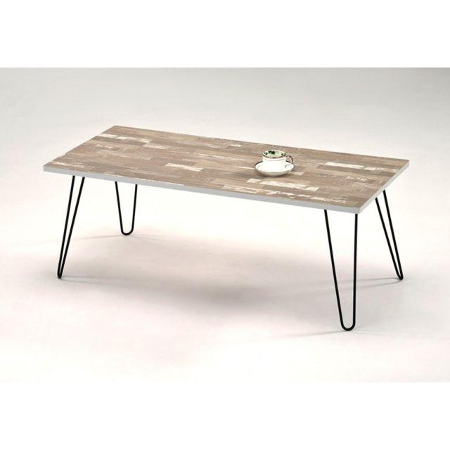Meubletmoi Table Basse Rectangulaire 120 Cm Fil Bois 60cm X