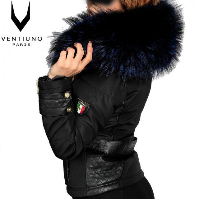 7196eed31e Ventiuno - Blouson Emily Grosse fourrure noir véritable et cuir d'agneau- doudoune , fourrure, veste, doudoune, cuir, femme - pas cher Achat / Vente  Blouson ...