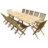 Teck'LINE - Ensemble de jardin en teck premium Kirang 10 chaises 2 fauteuils Jenae