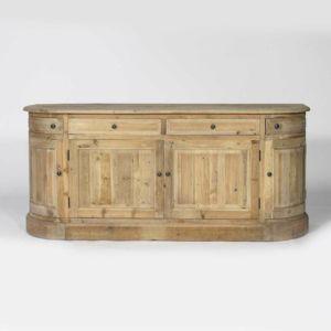 Made in meubles enfilade arrondie en vieux bois 180 cm for Meuble tv arrondi