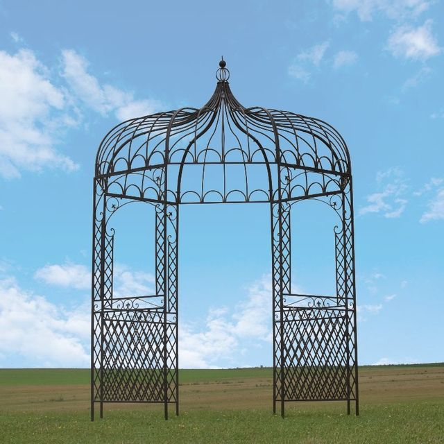 Tonnelle Gloriette Kiosque en Fer de Jardin Marron ø200 cm