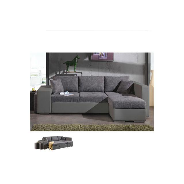 Canapé d'angle à droite convertible gris et Pvc gris Palencia