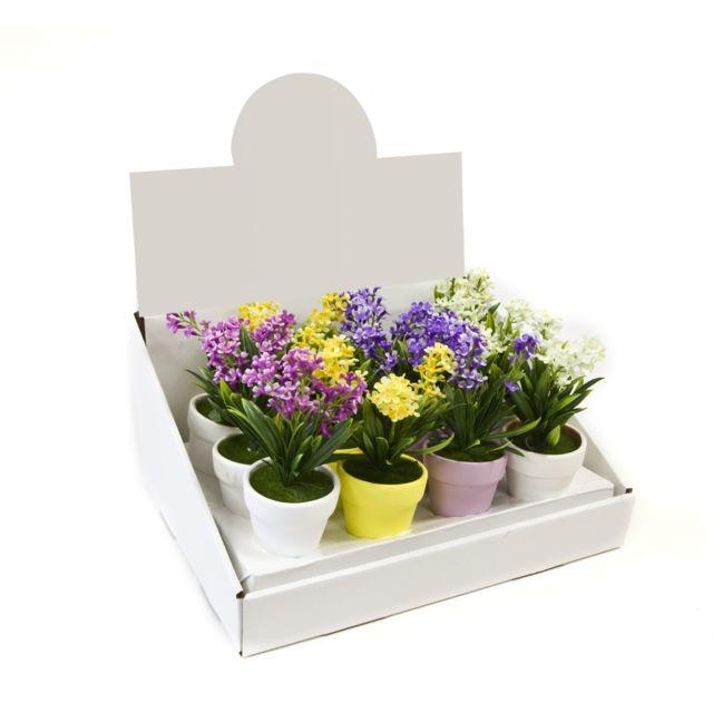 Visiodirect 12 pots fleurettes en céramique 4 coloris assortis - 13 x 6,5 cm