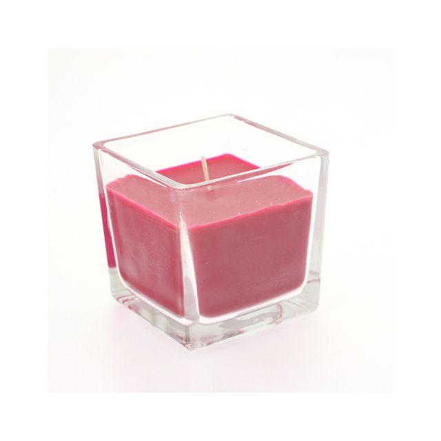 Comptoir Des Bougies Bougie en pot - Verre carré - Fuchsia