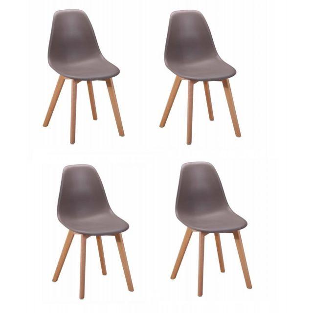 Meubletmoi Lot 4 chaises design scandinave - Taupe - Dawy