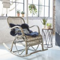 Made In Meubles - Rocking chair vintage en rotin | Vdl-19