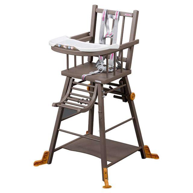COMBELLE - Chaise-Haute à Barreaux / Transformable Marcel - laqué taupe