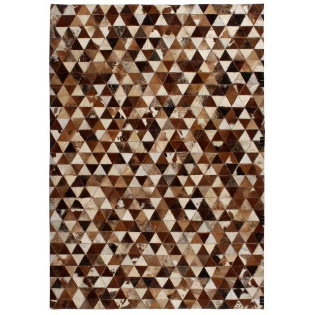 Vidaxl - Tapis Cuir véritable Patchwork 160x230 cm Triangle Marron ...