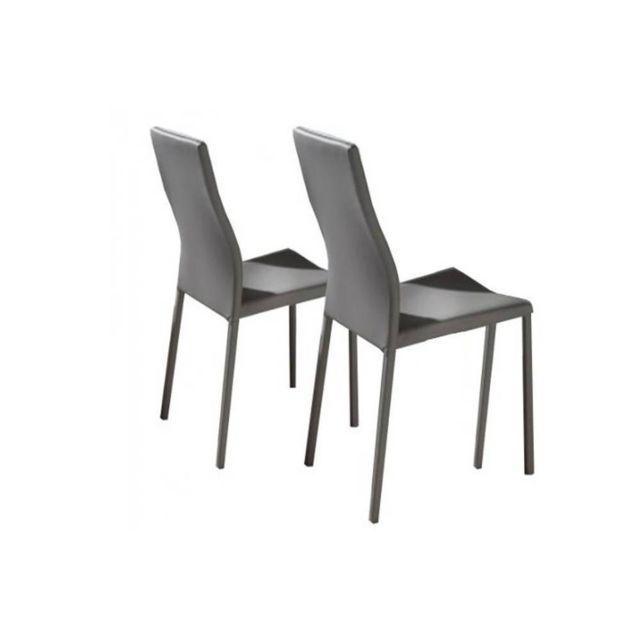 Inside 75 Lot de 2 chaises design Hellen en tissu enduit polyuréthane simili façon cuir taupe