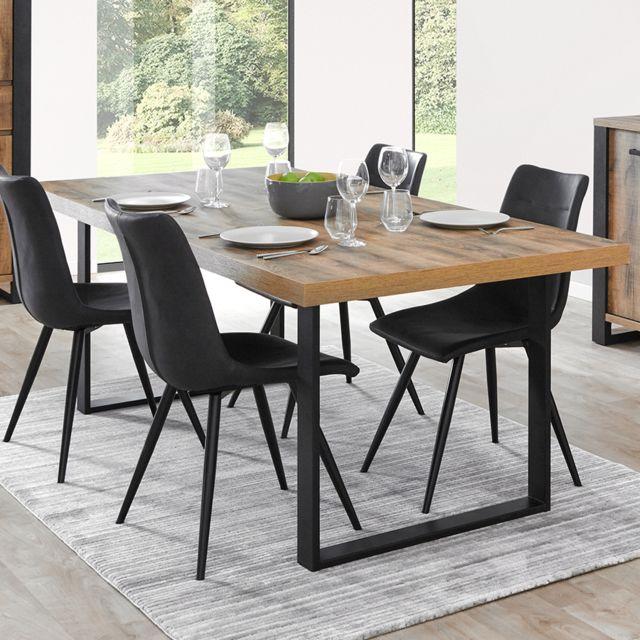 Nouvomeuble Table industrielle pieds en U couleur bois foncé Onnix
