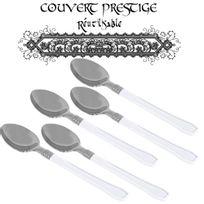Vaisselle-jetable - 20 cuilleres prestige jetables plastique blanc