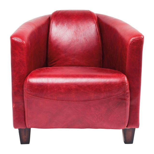 Karedesign Fauteuil Cuir Cigar Lounge rouge Kare Design