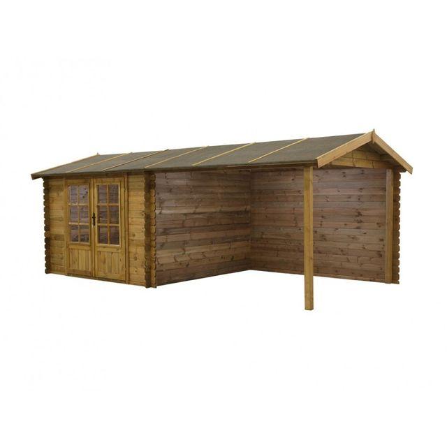 Abri de jardin ROCHESTER en bois traité classe III - 17,5m² - toit en  feutre bitumé