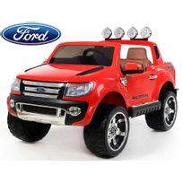 Voiture électrique enfant, 4x4 Ranger - 12V - 2 places siège en cuir - Rouge version luxe