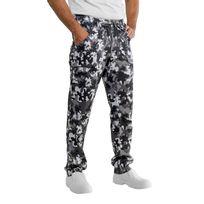 Isacco - Pantalon de cuisinier noir et blanc camouflage 100% coton