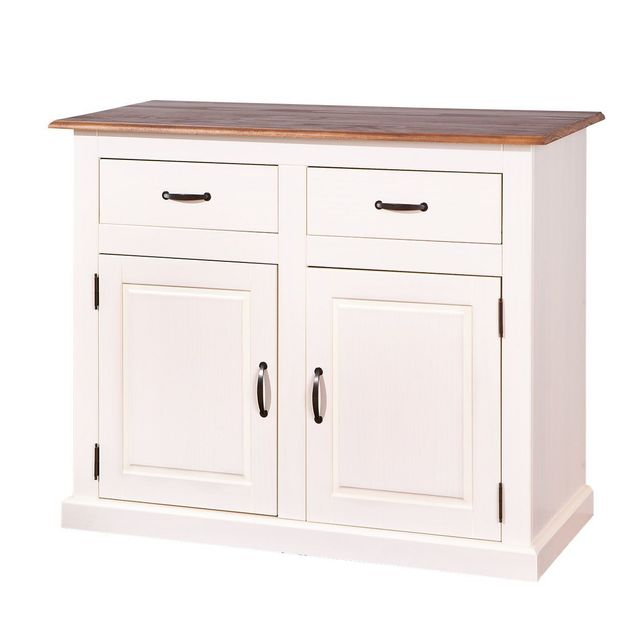 Comforium Petit bahut contemporain 118 cm avec 2 portes et 2 tiroirs en pin massif coloris blanc et bois verni