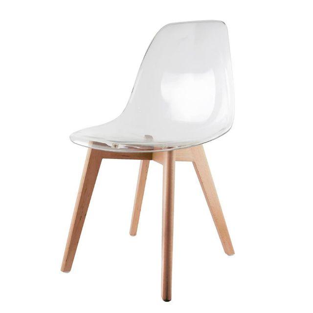 the concept factory chaise scandinave transparente blanc pas cher achat vente chaises rueducommerce - Chaises Scandinave