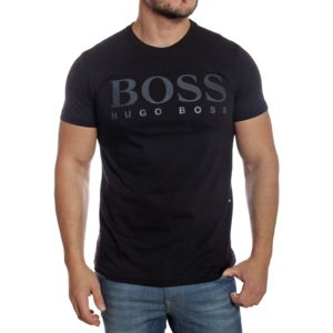 hugo boss boss green t shirt noir manches courtes en coton pas cher achat vente tee. Black Bedroom Furniture Sets. Home Design Ideas