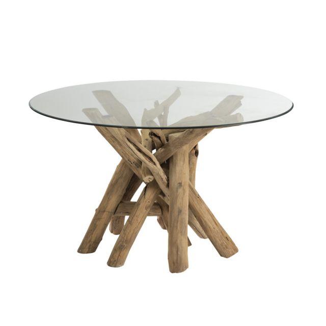 Tousmesmeubles Table de repas ronde en Bois flotté/Verre - Comcia