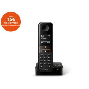 philips t l phone fixe sans fil avec r pondeur d4551b fr noir pas cher achat vente. Black Bedroom Furniture Sets. Home Design Ideas