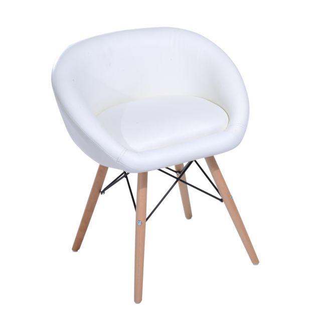 Chaise design scandinave grand confort L 52 x l 46 x H64 cm simili cuir blanc