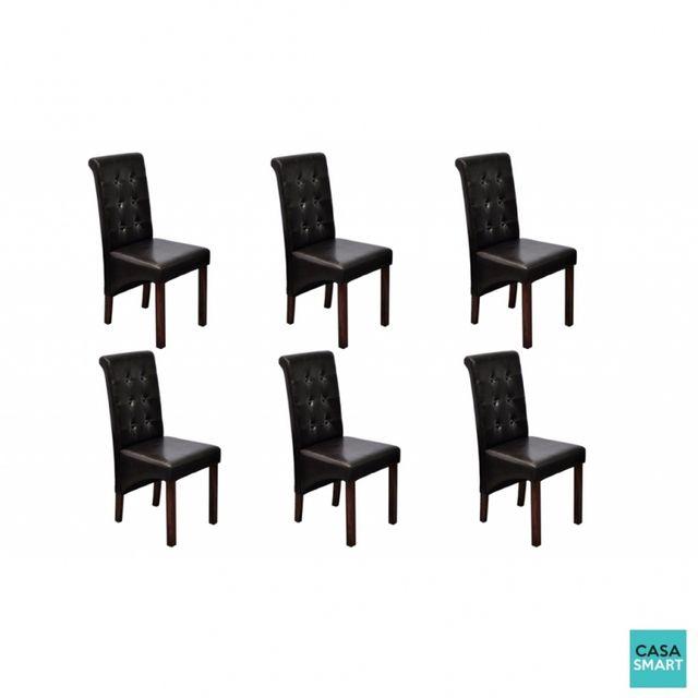 Casasmart Lot de 6 chaises Bassett en simili cuir marron