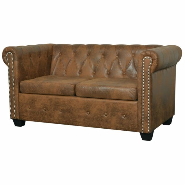 Magnifique Meubles selection Ngerulmud Canapé Chesterfield 2 places Cuir artificiel Marron