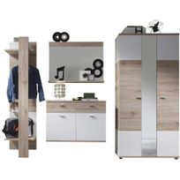 Comforium - Ensemble meuble d'entrée coloris chêne san remo et blanc