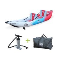"""ALICE'S GARDEN - Canoë kayak gonflable 2 places Betta K2 13'6"""" bateau biplace eaux vives ou eau de mer avec pompe haute pression, sac de rangement"""