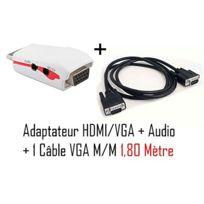 Cabling - Adaptateur Hdmi - Vga + audio pour ordinateur/Tablette vers vidéo projecteur + Cable Vga M/M 1.8 mètre