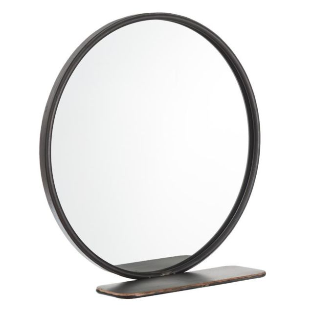 Tousmesmeubles Miroir rond Métal gris taille S - Grondin