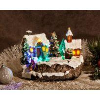 No Name - Décoration de Noël - Village en polystone avec Led - Avec animation