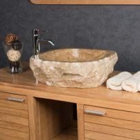 Wanda Collection - Vasque de salle de bain à poser en pierre Onyx 40 - 45 cm