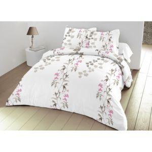 univers decor parure de couette 3 pi ces 240 x 260 grande largeur wisteria blanc 100 coton. Black Bedroom Furniture Sets. Home Design Ideas