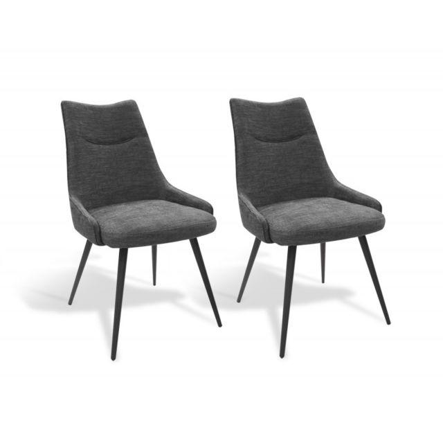 Meubletmoi Lot de 2 chaises tissu gris Olbia pas cher