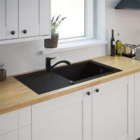Générique - Evier de cuisine noir 1 cuve Xl reversible à encastrer Minéral composite et Mitigeur noir
