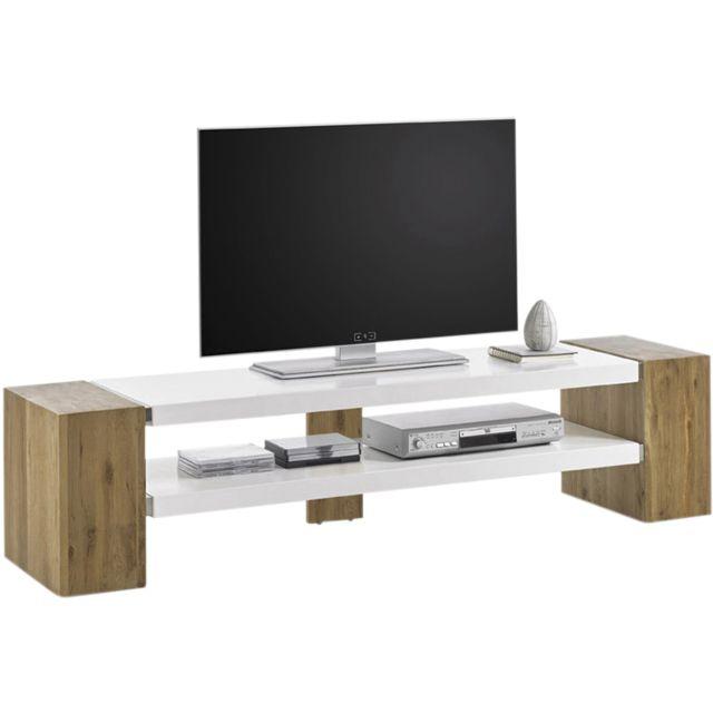 Meuble Tv Design En Mdf Et Bois Chêne Massif Coloris Blanc Mat Et Marron 170 Cm C Shubina