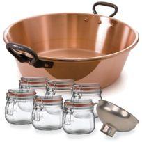 BAUMALU - bassine à confiture cuivre 9l + 6 bocaux + entonnoir - pack confiture