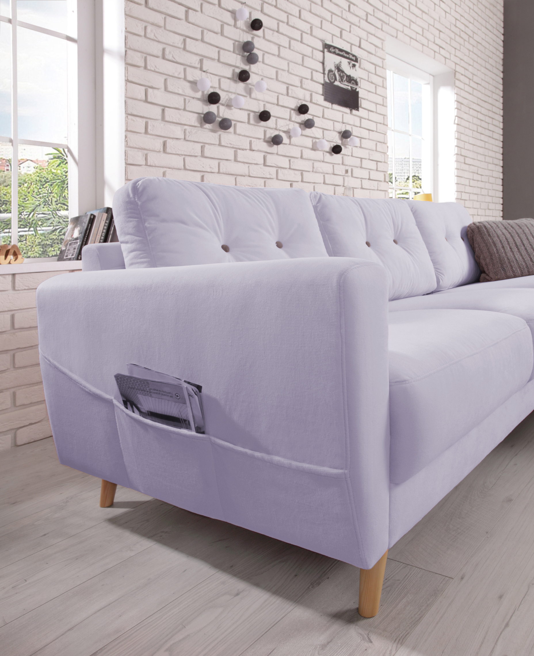 Bobochic oslo canap d angle gauche violet poudr - Canape d angle violet ...
