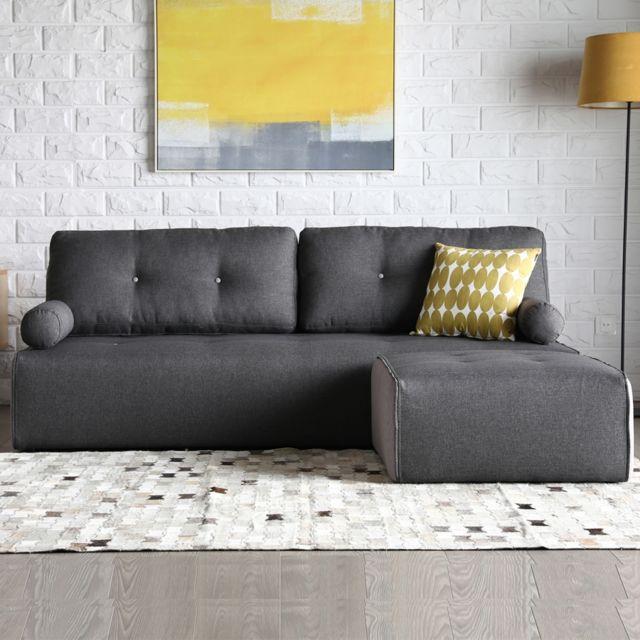 CONCEPT USINE Brooklyn gris foncé/gris clair : Canapé modulable 3 places + 1 pouf gris foncé/gris clair