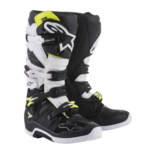 52 Bottes Moto Tech Cross Black 7 White K1lFJu3c5T