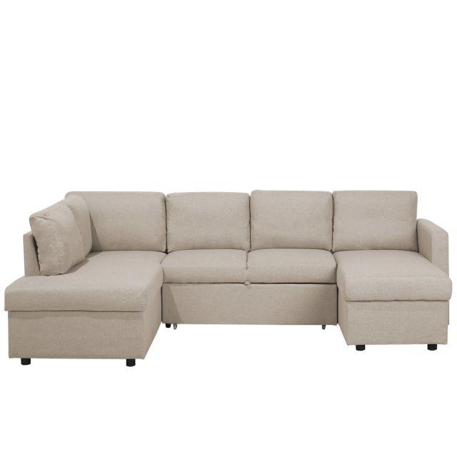 Beliani Grand canapé beige Karrabo