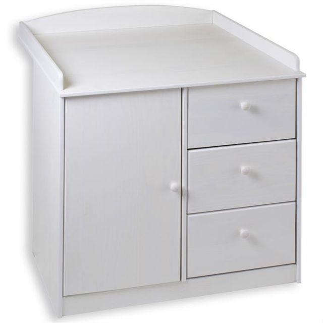 IDIMEX - Commode table langer RONDO pin massif lasuré blanc - pas ...