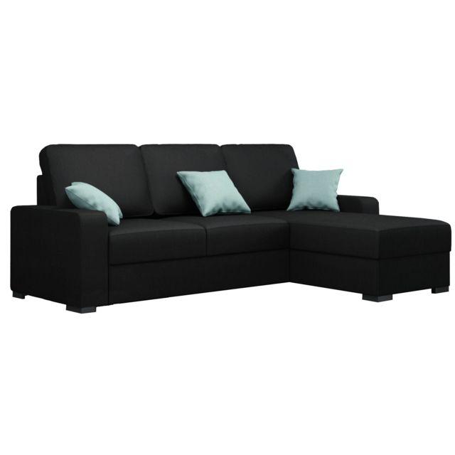 COMFORIUM Canapé d'angle convertible design avec méridienne droite en tissu noir C-Niobe