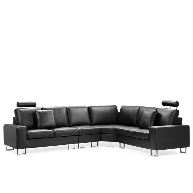 BELIANI Canapé angle à gauche en cuir noir avec LED STOCKOLM - noir