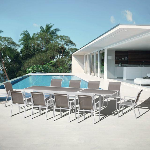 sunrise salon de jardin aluminium ibiza blanc 10 pas cher achat vente ensembles tables. Black Bedroom Furniture Sets. Home Design Ideas