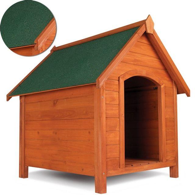 Idmarket - Niche pour chien en bois avec toit incliné ouvrant