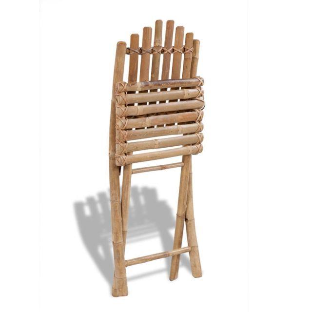 Chaises d'extérieur sublime Set de 2 chaises pliables en bambou