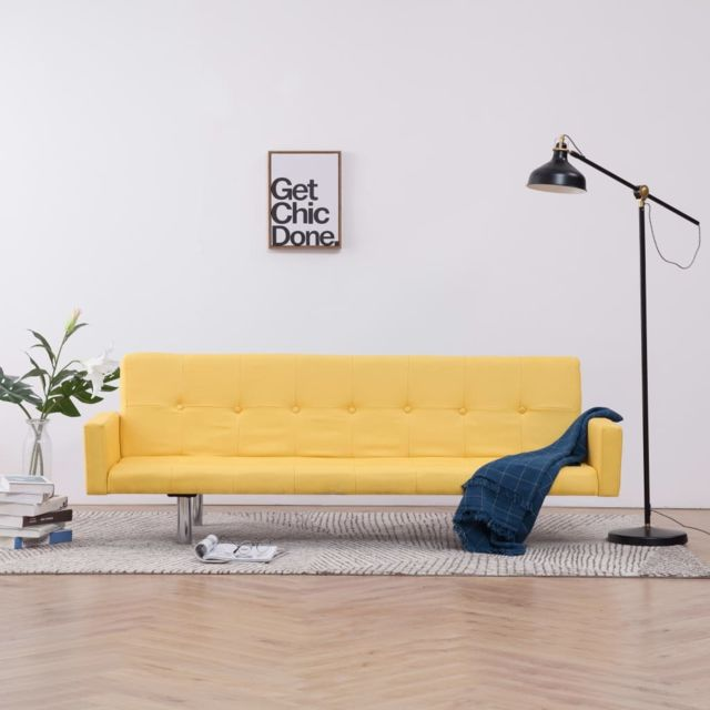 Vidaxl Canapé-lit avec accoudoir Jaune Polyester